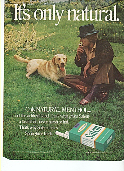 Salem menthol cigarettes ad 1972 JAGGER MAN AND DOG (Image1)
