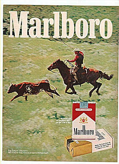 Marlboro cigarettes ad  1972 COWBOY IN ACTION (Image1)
