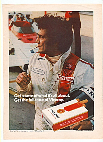 Viceroy cigarettes ad 1972 RACE CARS (Image1)