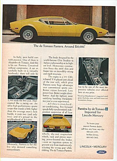 Lincoln Mercury Pantera de Tomaso auto  ad (Image1)