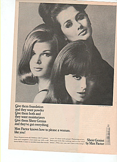Sheer Genius by Max Factor ad 1965 (Image1)