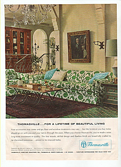 1965 Thomasville Furniture Ad 1965 Beautiful Living