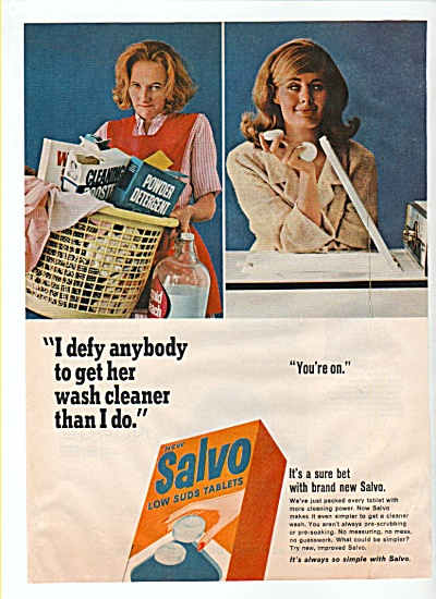Salvo low suds tablets ad 1965 I DEFY (Image1)