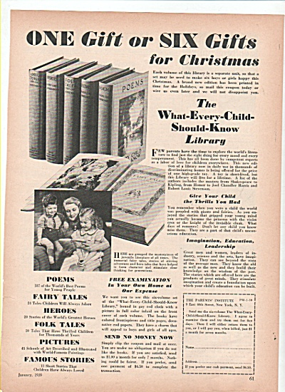 The Parents Institute  -Library books ad 1939 (Image1)