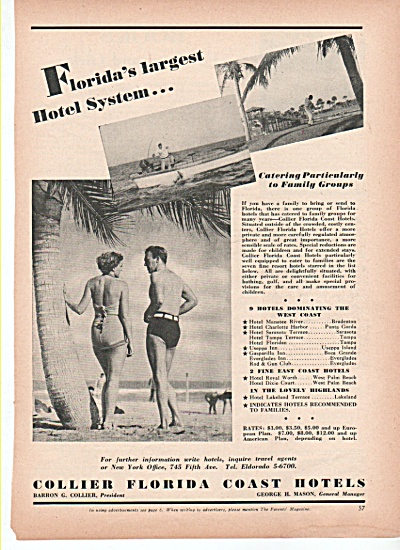 Collier Florida Coast  Hotels ad 1939 (Image1)