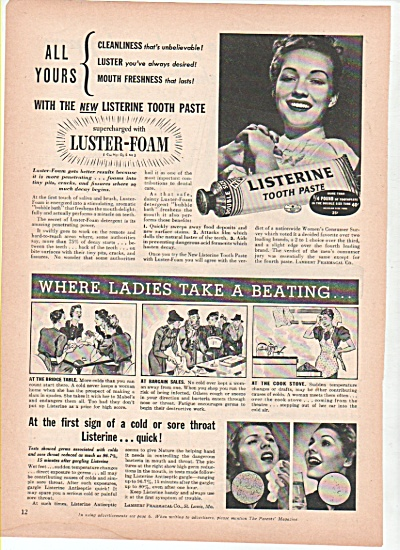 Listerine tooth paste.  ad 1939 (Image1)