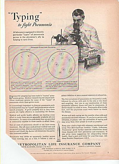 Metropolitan Life Insurance Company ad 1939 PNEUMONIA (Image1)