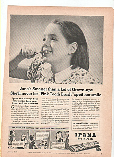 Ipana tooth paste ad 1939 JANE IS SMARTER (Image1)