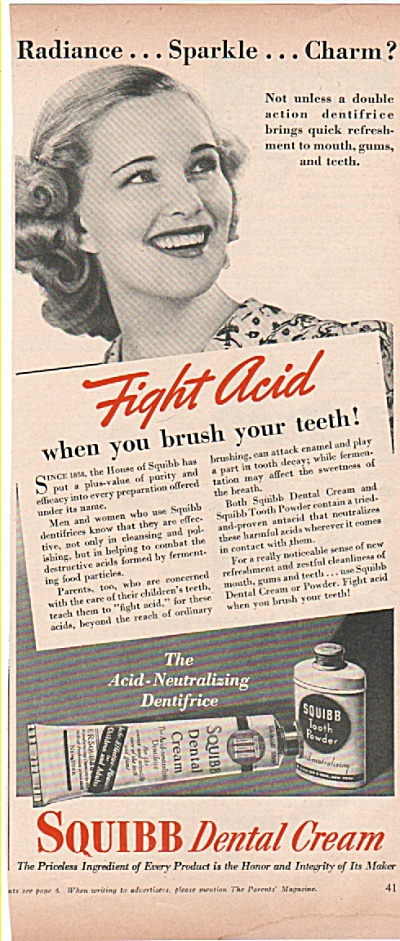 Squibb Dental Cream ad 1939 SPARKLE MODEL (Image1)