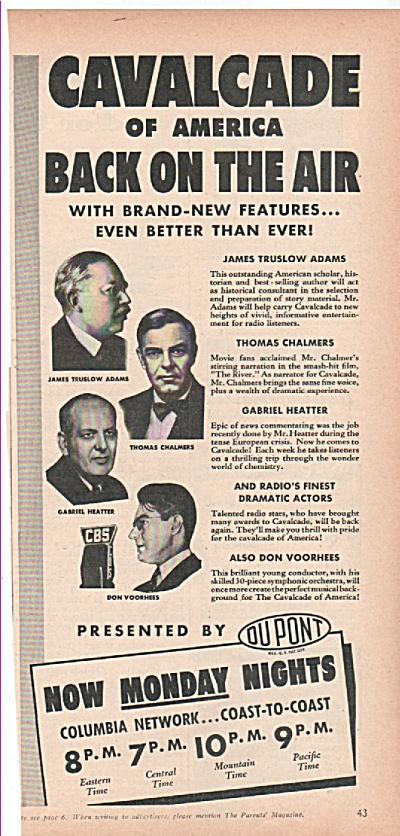 Cavalcade of America radio program ad 1939 (Image1)