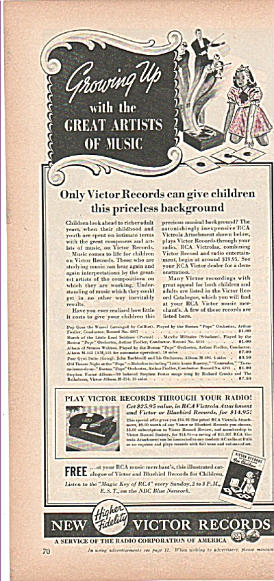 New Victor Records Ad 1939 W/ Prices For Children