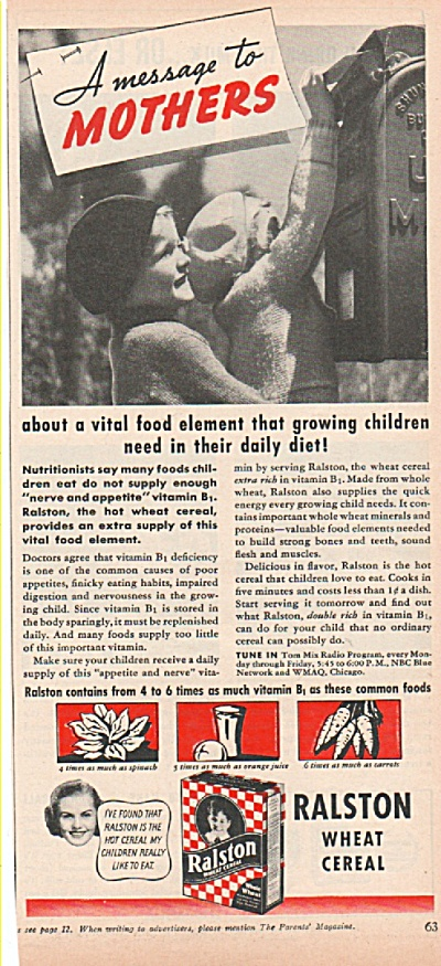 Ralston wheat cereal ad 1939 MESSAGE TO MOTHERS (Image1)