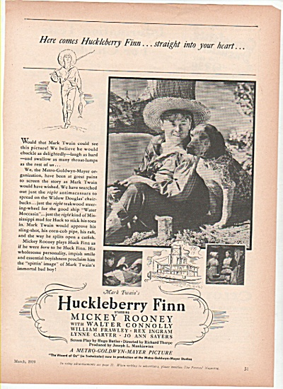Movie; HUCKLEBERRY FINN   - MIKEY ROONEY (Image1)