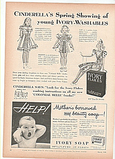 Ivory Flakes and Ivory soap ad 1939 CINDERELLA SPRING (Image1)
