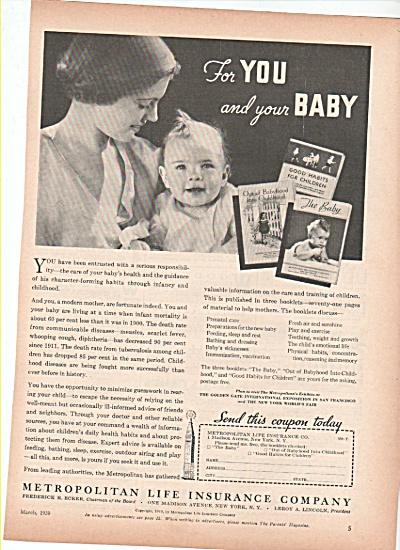 Metropolitan Life Insurance company ad 1939 BABY (Image1)