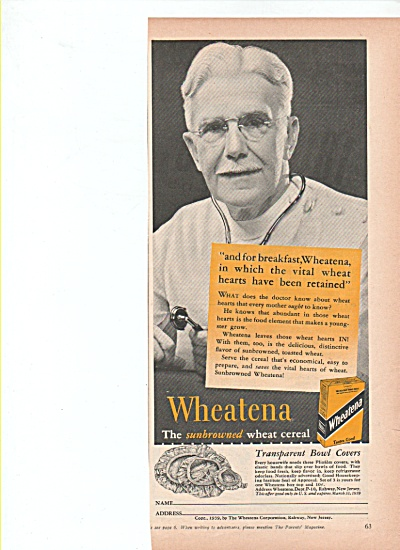 Wheatena wheat cereal ad 1939 WHEAT HEARTS (Image1)