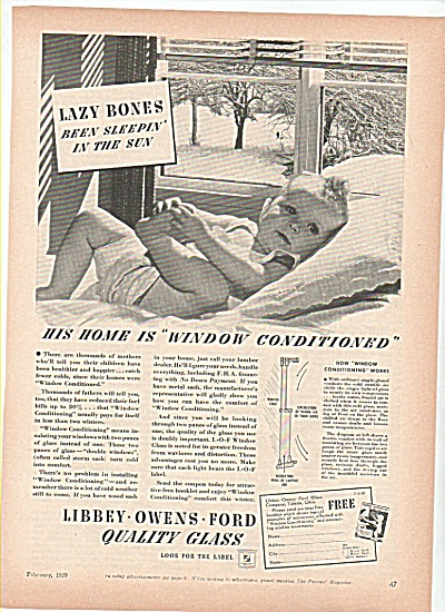 Libbey-Owens-Ford quality glass ad 1939 LAZY BABY (Image1)