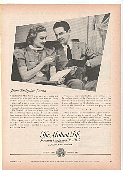 The Mutual Life Insurance co. of New York ad (Image1)
