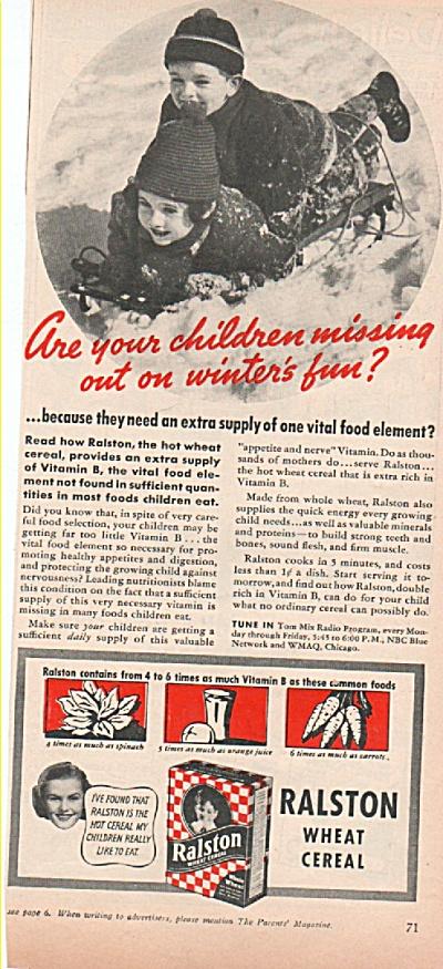 Ralston wheat cereal ad 1939 BOY SLEDDING (Image1)