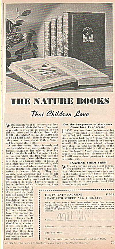 The parents magazine-The nature books ad 1939 (Image1)
