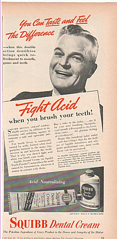 Squibb Dental Cream ad 1939 FIGHT ACID (Image1)