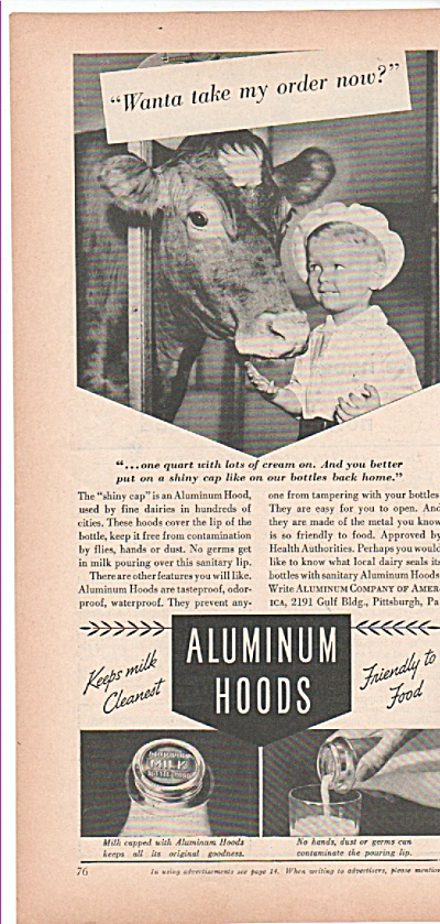 Aluminum Hoods ad 1939 KEEP MILK CLEAN (Image1)