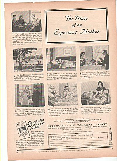 Metropolitan Life Insurance company ad 1939 PREGNANT (Image1)