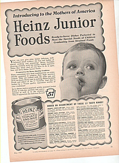 Heinz Junior foods ad  1939 (Image1)