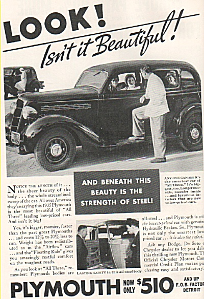 Plymouth auto for 1935 ad (Image1)