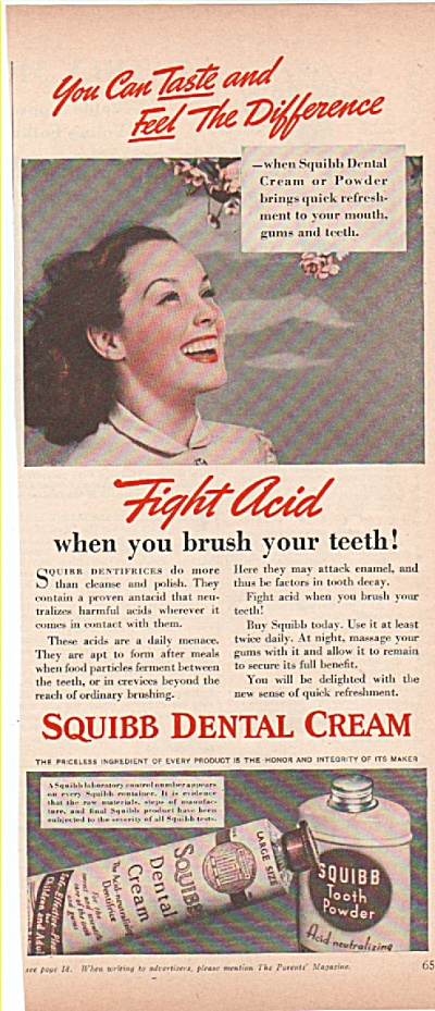 Squibb Dental cream ad 1939 TOOTH POWDER (Image1)