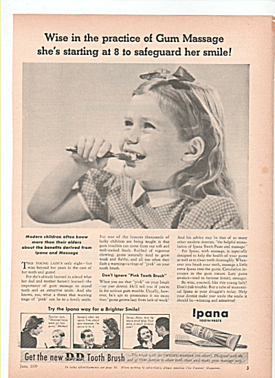 Ipana tooth paste ad  1939 GUM MASSAGE (Image1)