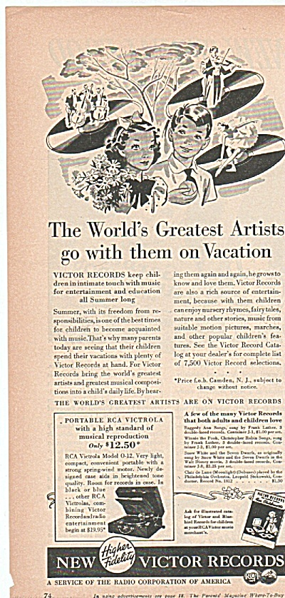 New Victor Records Ad 1939 Go On Vacation