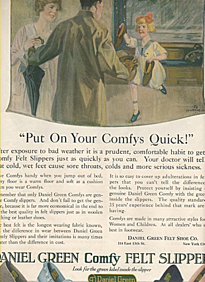 Daniel Green Comfy Felt Slippers Ad 1919