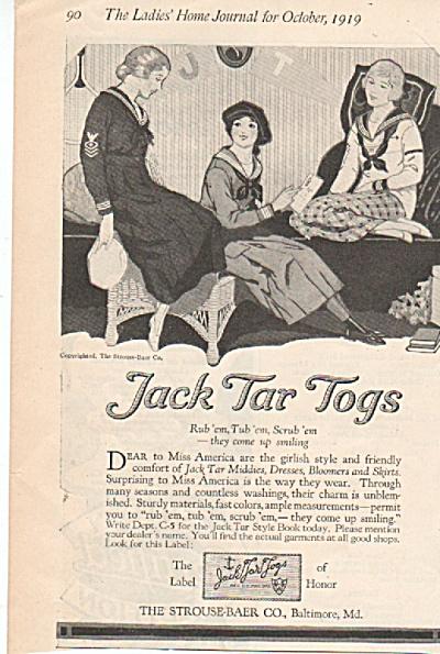 Jack Tar Togs ad 1919 VINTAGE KIDS CLOTHES (Image1)