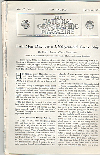 Fish Men discover a 2,200-year old Greek ship.  1954 (Image1)