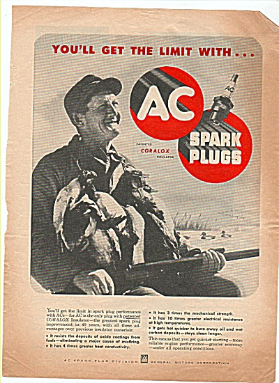 AC spark plugs ad 1952 DUCK Hunter with Gun (Image1)