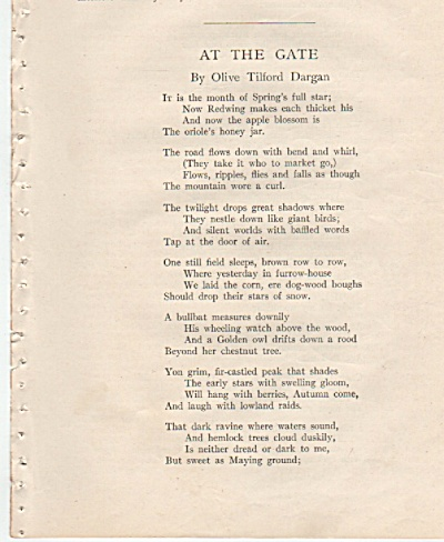 Poem; AT THE GATE  by Olive Tilford Dargan (Image1)