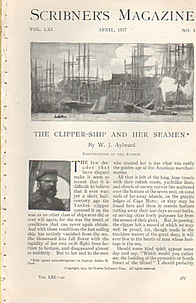 The Clipper Ship And Her Seamen -artist W. J. Aylward