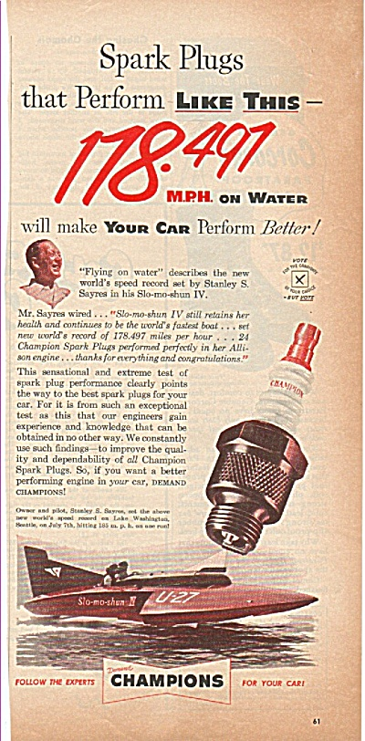 Champion Spark Plugs Ad 1952
