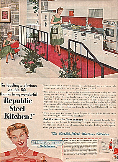 Republic Steel kitchens ad 1955 (Image1)