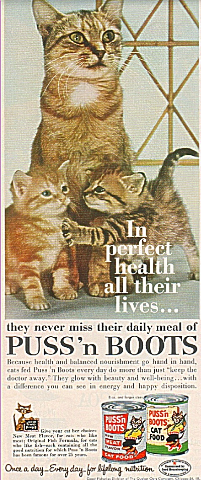 Puss 'n boots meal ad 1960 PERFECT HEALTH CATS (Image1)