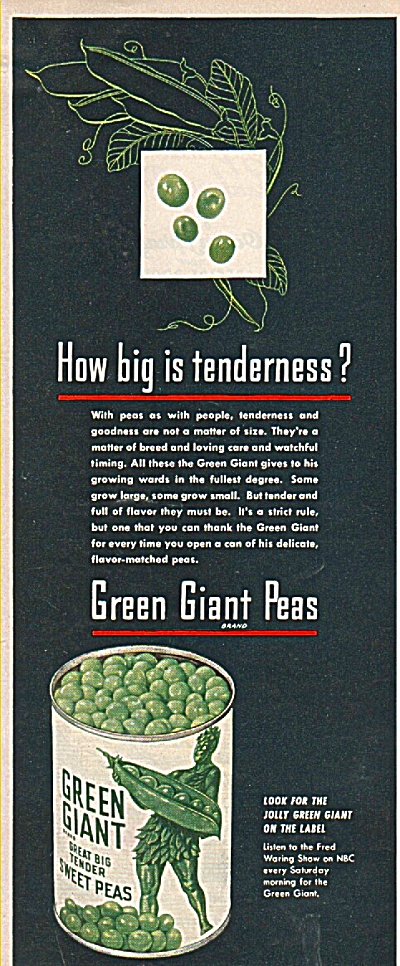 Green Giant peas ad 1949 (Image1)