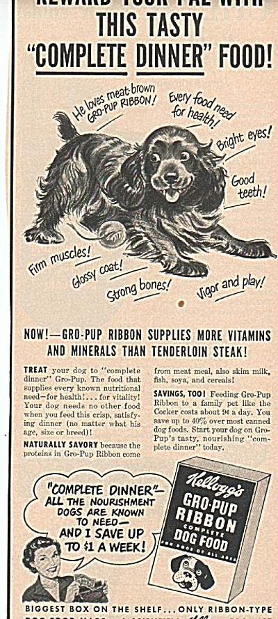 Kellogg's gro pup dog food ad 1949 (Image1)
