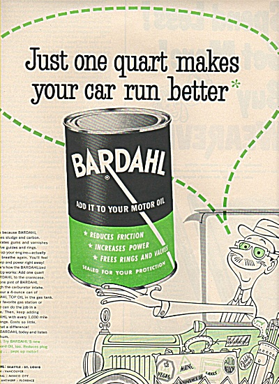 Bardahl Add To Motor Oil Ad 1953