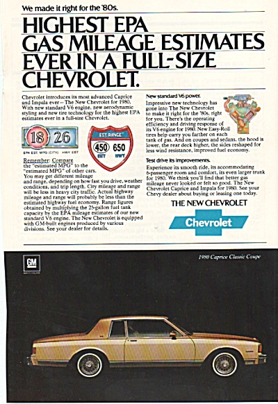 Chevrolet automobile for 1980 ad. (Image1)