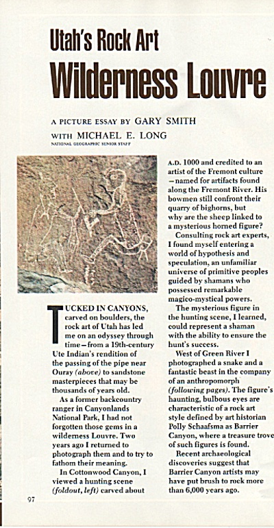UTAH's Rock Art - Wilderness Louvre story 1980 (Image1)