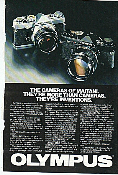 Olympus - the cameras of Maitani ad 1980 (Image1)