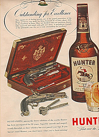 Hunter whiskey ad DUELING PISTOLS (Image1)