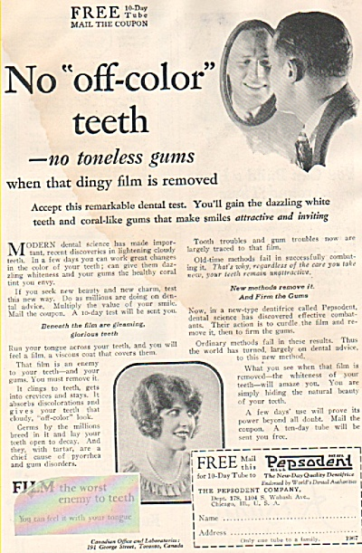 Pepsodent tooth paste ad 1926 (Image1)