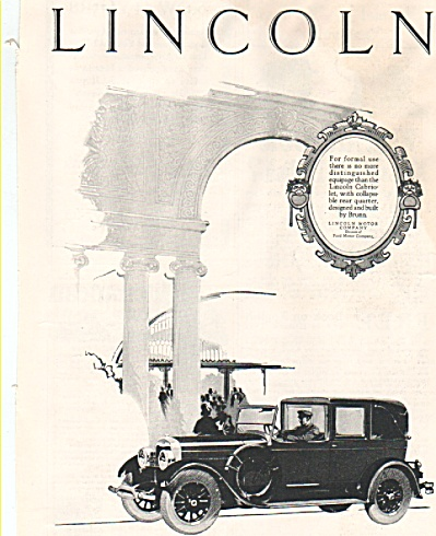 Lincoln Automobile Ad 1926